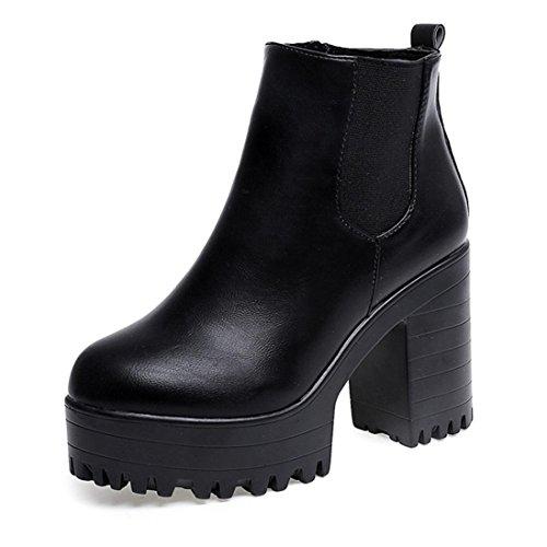 Calzado de Mujer, Plataformas de tacón Cuadrado Cuero Muslo Alta Botas de la Bomba Zapatos (39, Negro)
