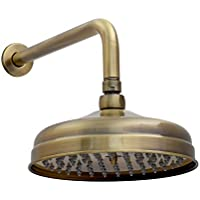 ENKI alcachofa de ducha fija clásica brazo para pared redonda bronce antiguo