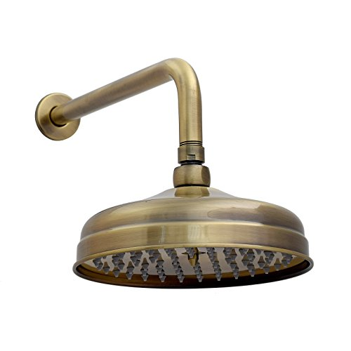 ENKI Große Kopfbrause Dusche Retro Rund Messing Antik-Bronzefarben Brausearm