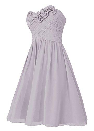 Dresstells, robe courte de demoiselle d'honneur sans bretelles col en cœur avec fleurs Lavande