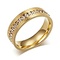 Vnox Stainless Steel 18K Gold Plated Greek Key CZ Diamond Setting Wedding Engagement Band Ring for Teen Girls,UK Size L 1/2