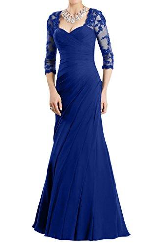 Gorgeous Bride Hochwertig Halb Aermel Etui Chiffon Spitze Lang Brautmutterkleid Abendkleid Festkleid Royalblau