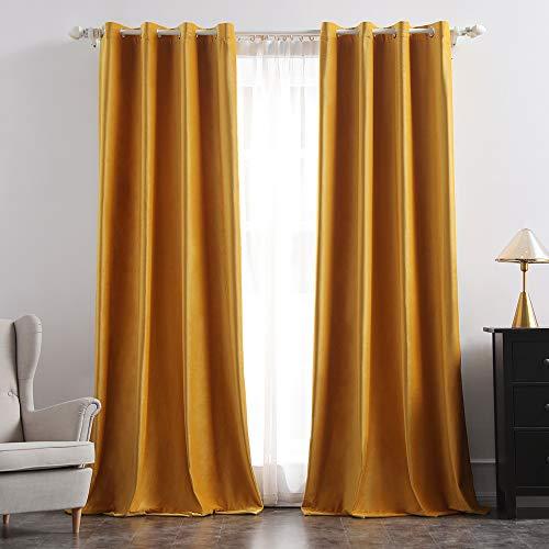 Miulee tende morbide oscuranti isolanti termiche in velluto con occhielli 2 pannelli per soggiorno e camera da letto 140x260cm oro