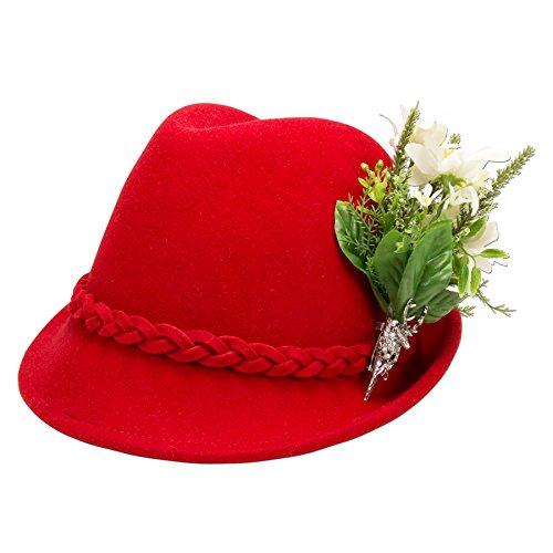 Alpenflüstern Damen Trachtenhut Filzhut Edelweiß-Blüten ADV09100M20 rot