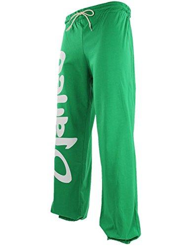 Pantaloni cotone per lo sport Rio Djaneo Jogging uomo e donna in 35 colori verde e bianco