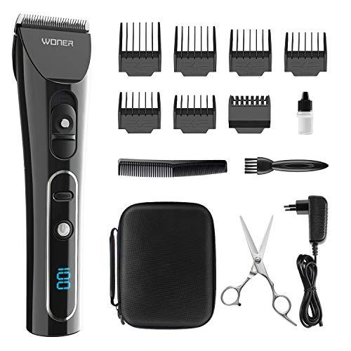 Haarschneidemaschine Profi, WONER HC827B Haarschneider Haarscherer Maschine Langhaarschneider Haarrasierer Set Haartrimmer für Herren Männer mit LED Anzeige, Turbo-Funktion