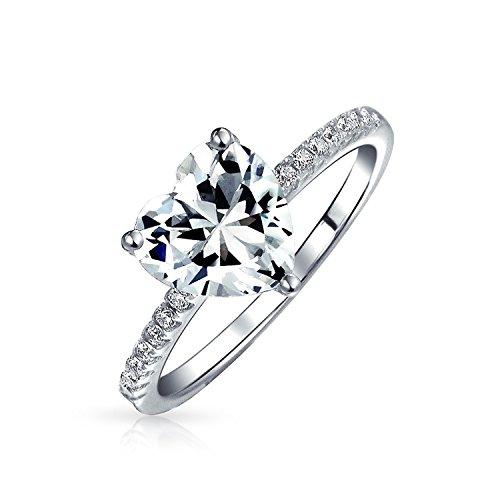 Bling Jewelry 2ct Solitaire cuore anello di fidanzamento CZ Pave Band 925 ARGENTO