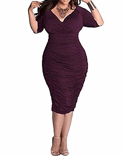 BIUBIU Damen Plus size V-Ausschnitt Bandage Cocktailparty Bodycon Bleistift Kleid Lila DE 48 (Lila Plus Size Kleid)