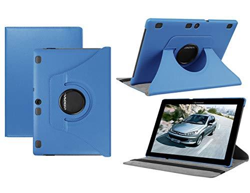 HereMore Lenovo TB-X103F/Tab 2 A10-30/Tab 2 A10-70 Hülle, 360 Grad Rotierend Schutzhülle Tasche für Lenovo Tab 3 10 Plus/Tab 3 10 Business 10,1 Zoll Tablet, Himmelblau (mit Auto Schlaf/Wach Funktion)