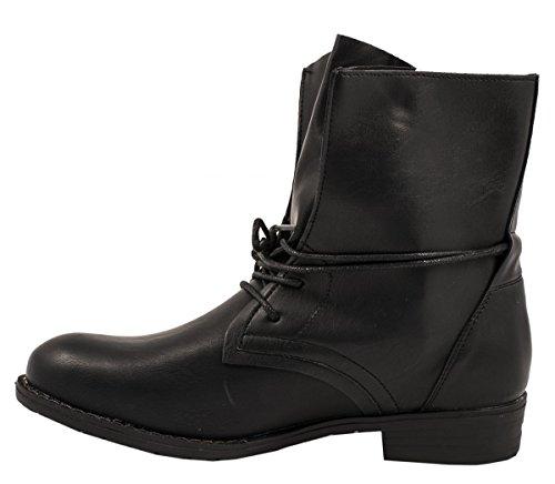 Elara Damen Stiefelette | Biker Boots | Trendy Lederoptik nero 3