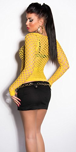In - Stylefashion - Chemisier - Body chemise - Col Ras Du Cou - Femme Jaune