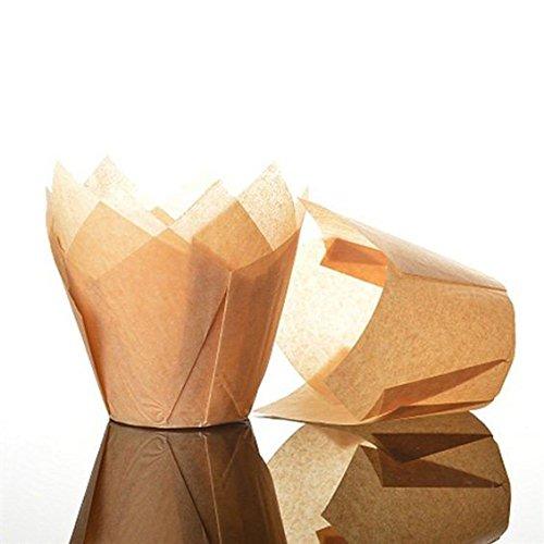 Bakery Direct Muffinförmchen in Tulpenform, Standardgröße, karamellfarben, 50 Stück