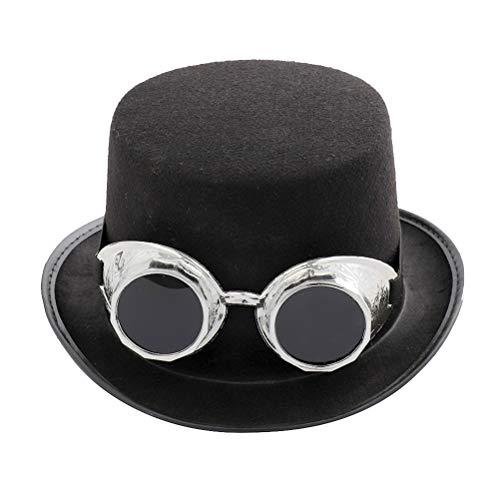 Toyvian Filz Fedora Hut Jazz Hut Trilby Hut mit Brille Karneval Mütze Party Hut für Kinder Herren Damen Geburtstag Kostüm Zubehör (Silber)