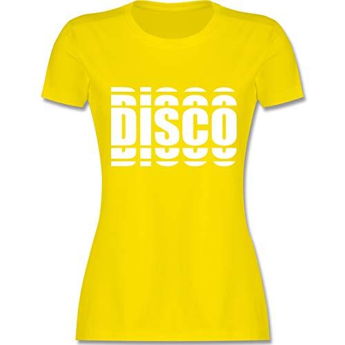 Festival - Disco in Grafischem Muster - S - Lemon Gelb - L191 - Damen Tshirt und Frauen T-Shirt