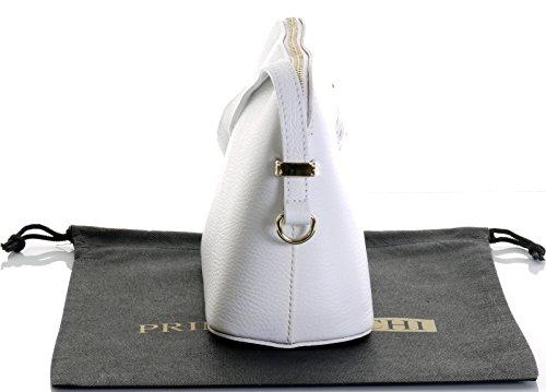 Italienische strukturiertem Leder kleine dreieckige Nackenband mit Halterung Schulter oder als Crossbody-Bag.Umfasst eine Marke schützenden Aufbewahrungstasche Weiß