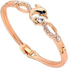 Yazilind regalo de la joyería agraciada del diseño del delfín lindo de la forma cristal Rose plateó el brazalete de la pulsera para la Mujer