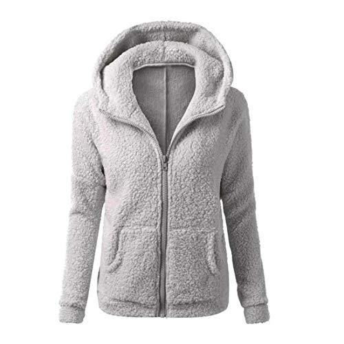 Cabelas Damen Fleece (Women Solid Color Coat Thicken Soft Fleece Winter Autumn Warm Jacket Hooded Zipper Overcoat Female Fashion Casual Outwear Coat Gray XXXL)