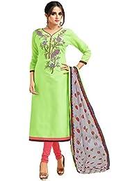 Applecreation Women's Cotton Chanderi Salwar Suits Material (Green_Salwar Suit_21DMK630_Free Size)