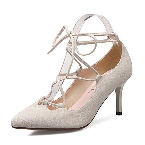 scarpe di cuoio/La versione coreana dei tacchi a spillo a punta in pelle scamosciata band/Scarpe da donna-A Lunghezza piede=22.8CM(9Inch)