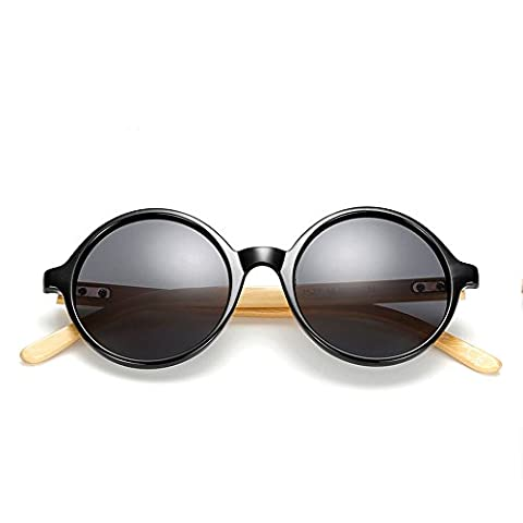 VeBrellen Bamboo Wood Arms Vintage Round Mirrored Classic Sunglasses YJ072 (Black Frame Grey Lens)