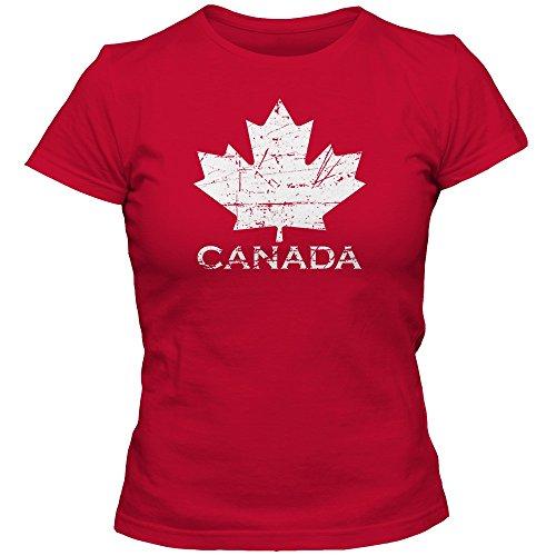 Canada Vintage Damenshirt | Eishockey | 2016 | Canada | Kanada | CAN | T-Shirt, Farbe:Rot (Red L191);Größe:XL (Vintage-hockey-t-shirts)