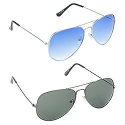 RED LEAF Aviator Blue Lens Silver Frame Sunglasses, Aviator Green Lens Grey Frame Sunglasses - HCMB049