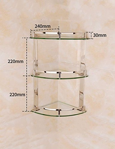 Home Badezimmer Regal Edelstahl dreieckige Regal Bad Glasböden wc Ecke Rack Qualität A++++ (Größe: 24 * 40 cm)