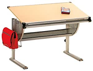 Links - Paint 2 scrivania. Dim. 117x73x62/93h cm. Mdf finitura pesco e metallo cromato.