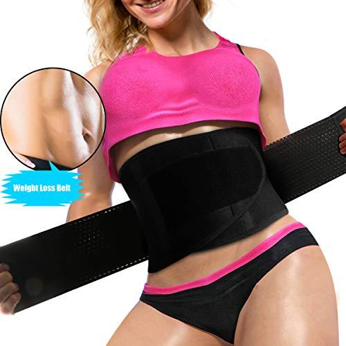 WOSTOO Mujer Cintura Entrenador, Ajustable Respirable Cinturón Reductor Abdominal Faja Moldeadora Grasa para Peso Pérdida Deporte Entrenamiento - (Negro)