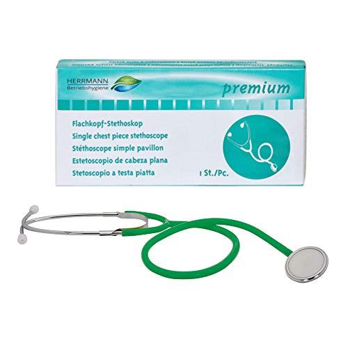 Flachkopf Stethoskop in Grün | nickelfreie Alu-Plastik-Kombination | ultraleicht & super Akustik | flexibler Y-Schlauch mit Brusstück | Ideal für Ärzte, Pflegepersonal & Privatgebrauch