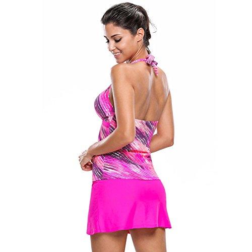 Erica Frauen-Strand-Halter-Bikinis zwei Stücke gesetztes Badeanzug-Blumendruck-drahtloser gepolsterter Büstenhalter-Sport rose red