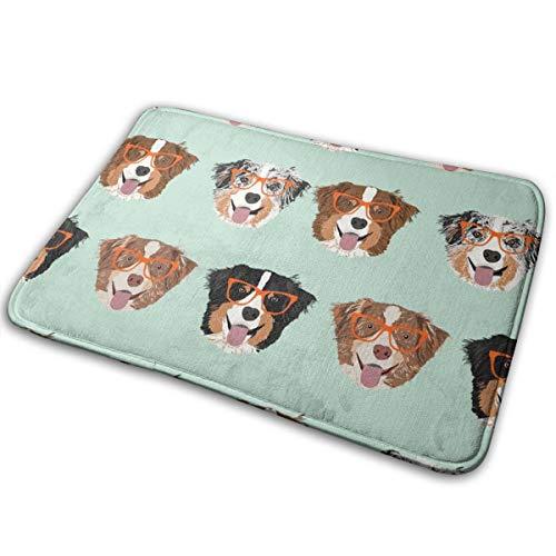 2230 Mint (bbelieve Australian Shepherds Glasses - Niedliches Hunde- und Brillen-Design - Mint_2230 16X24-Zoll-Begrüßungsmatte mit rutschfesten Gummiteppichen Bodenmatte für stark frequentierte Bereiche)
