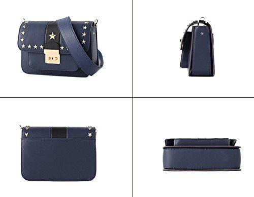 Damen Leder Schultertasche Hit Farbe Sperre Breite Riemen Messenger Bag Niet Kleines Quadrat Paket Blue