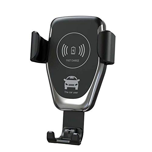 HKKANG - Supporto caricabatterie wireless per auto, regolabile, per iPhone, Samsung, Nexus, Moto, OnePlus, HTC, Sony, Nokia e smartphone Andro
