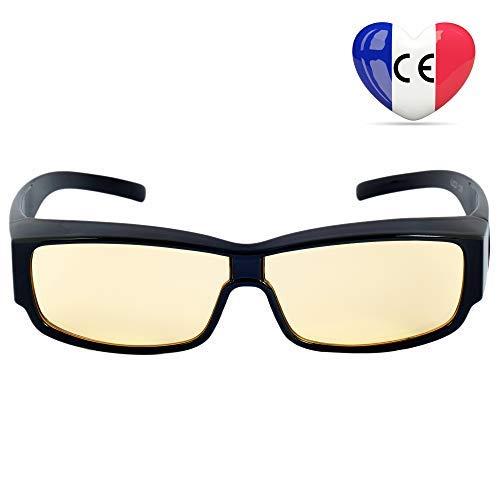 2-in-1-Brille Hoher Blaulichtfilter- Premium-Bernsteingläser - Anti-Müdigkeit-Brille für Computerbildschirme, Smartphones, Tablets, TV - Umfasstes Gestell Brille gegen Blaulicht