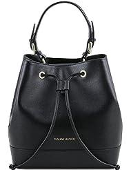 Tuscany Leather - Minerva - Sac secchiello pour femme en cuir 'Saffiano' - Noir
