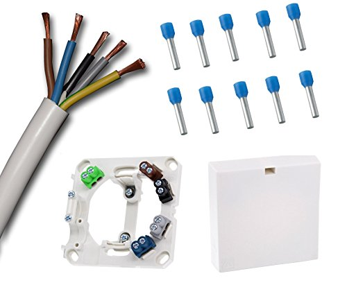 Herdanschlussdose mit 2 Meter Herdanschlusskabel weiß H05VV-F 5G2,5 mm² (2 m) und farbigen Anschlussklemmen passend zu den Kabeladern inkl. 10 x passende Adernhülsen (Grundpreis Kabel 3,30/m)