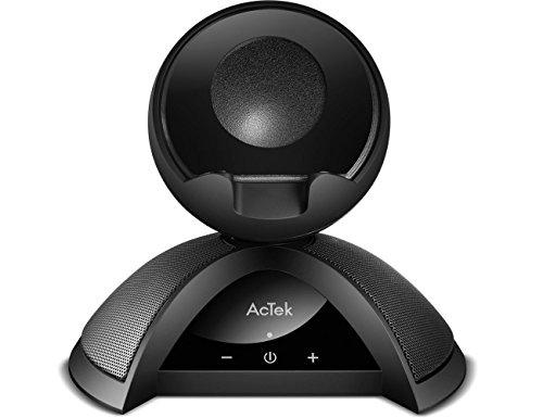 AcTek Bluetooth Lautsprecher mit Handy Halterung Ständer, 2x4W Treiber