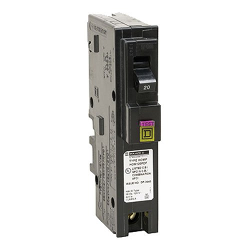 Square D by Schneider Electric hom120pdfc Homeline plug-on Neutral 20 Amp single-pole Dual Function (cafci and GFCI) Circuit Breaker,, by Square D by Schneider Electric