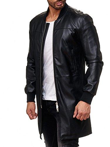 Redbridge Herren Kunstleder Mantel Jacke Oversized lange Lederjacke Lang Black (M, Schwarz) (Schwarzes Leder-motorrad-jacke-mantel)