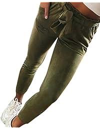 Pantalons Femme Pantalons Femme Taille Haute Slim Pantalons Femme Sarouel  Pantalon Taille Haute Sarouel Femme Bowtie 7db5a15dad65