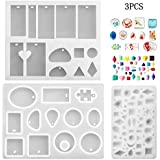 Phoneix 3 Pieces Jewelry Making Molds Assorted Silicone Resin Mould with Hanging Hole for Making Pendant, Cabochon, Polymer Clay DIY Craft Mold