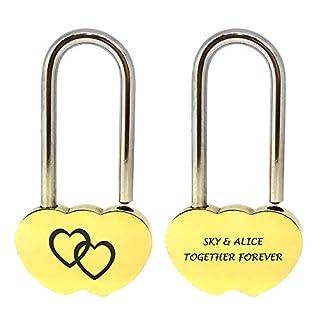 Personalised Engraved Wish Padlock Double Hearts Lock Wedding Anniversary Valentines Gift