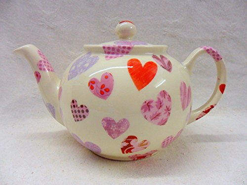 2 Cup Teapot In Patchwork Heart Design By Heron Cross Pottery.
