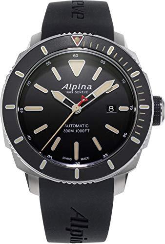 Alpina Herren Analog Automatik Uhr mit Gummi Armband AL-525LGG4V6 (Cartier Uhr Herren Fake)