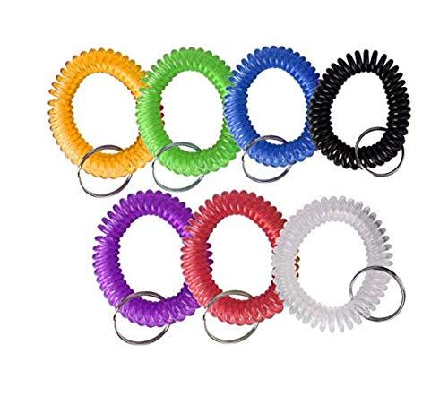 SMIN 35 Stück einziehbare Kunststoffarmbänder Armband Armband Schlüsselanhänger Kette Clip-Label (35 Stück - 7 Mischfarben)