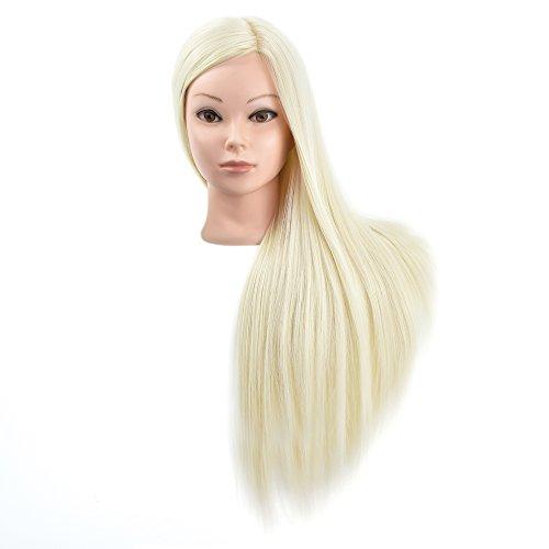 Cabeza de maniquí de pelo sintético 100 % para practicar, de 71 cm, cabeza de muñeca con abrazadera para mesa