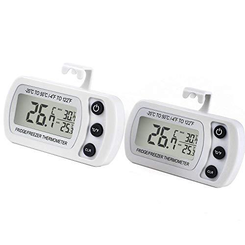 Kühlschrankthermometer, mit Haken, Anzeige mit MIN/MAX-. Speicherwerten, digitales Thermometer für Gefrierschrank Tiefkühltruhe Weinkühlschrank, wasserabweisend (2*weiss)