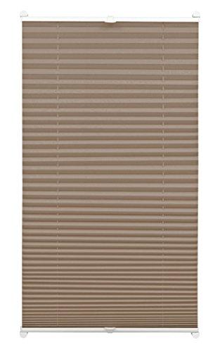 GARDINIA Plissee zum Klemmen, Blickdichtes Faltrollo, Alle Montage-Teile inklusive, EASYFIX Plissee verspannt mit zwei Bedienschienen, Taupe, 100 x 130 cm (BxH) (Weiße 2 Fenster Holz-jalousien,)