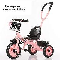 GIFT Tricycle Children Bike 3 Wheel Bike Baby Carriage Stroller,Detachable Push Rod,EVA Soft Wheel,2-6 Years Old Toy